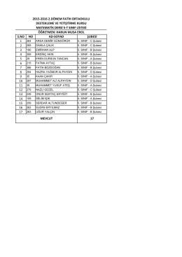 5/t sınıf listesi - BARTIN / MERKEZ