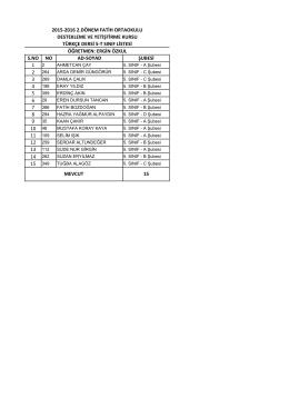 5/t liste - BARTIN / MERKEZ
