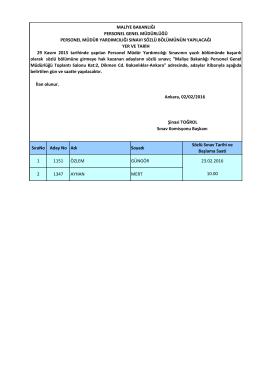 29/11/2015 Tarihinde Yapılan Personel Müdür Yardımcılığı