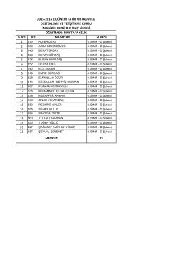 8/h liste - BARTIN / MERKEZ