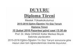 DUYURU Diploma Töreni