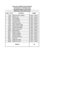 6/t sınıf listesi - BARTIN / MERKEZ