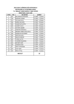 8/t liste - BARTIN / MERKEZ