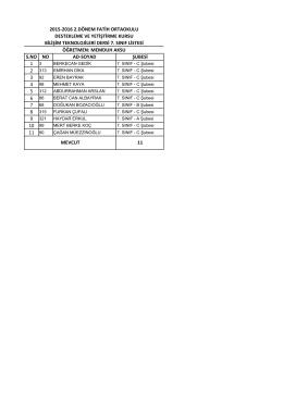 7 genel sınıf listesi - BARTIN / MERKEZ
