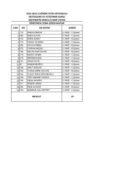 6/h sınıf listesi - BARTIN / MERKEZ