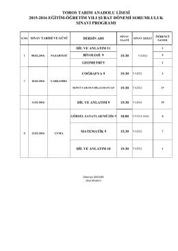 2015-2016 eğitim-öğretim yılı şubat dönemi sorumluluk sınavı