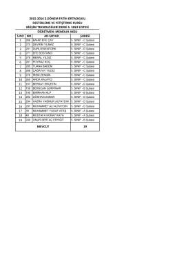 5 genel sınıf listesi - BARTIN / MERKEZ