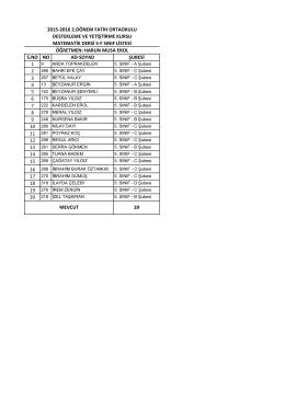 5/f sınıf listesi - BARTIN / MERKEZ