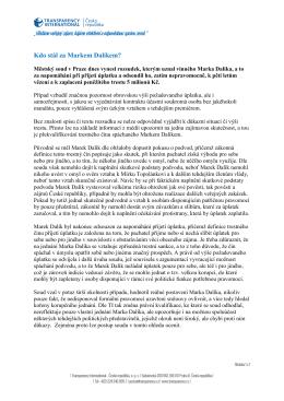 Kdo stál za Markem Dalíkem? - Transparency International ČR