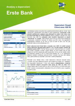 Fundamentální analýza Erste Bank