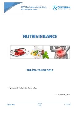 nutrivigilance zpráva za rok 2015