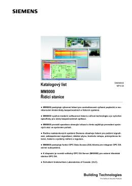 Katalogový list MM8000 Řídící stanice