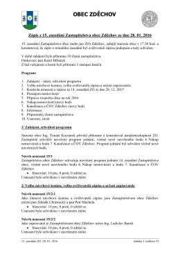 Zápis z 15. zasedání Zastupitelstva obce Zděchov