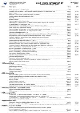 Ceník výkonů nehrazených ZP - Všeobecná fakultní nemocnice v