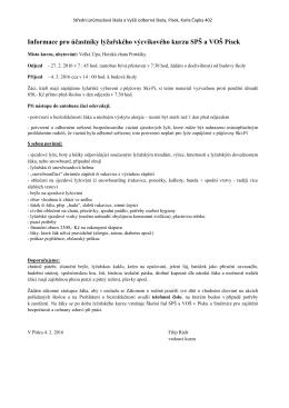 Informace pro účastníky LVK A1+C1 2016