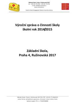Výroční zpráva o činnosti školy školní rok 2014/2015