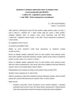 vrchní ministerský rada v odboru 29 – Legislativa a právní službyPDF