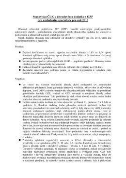Stanovisko ČLK k úhradovému dodatku s OZP pro ambulantní