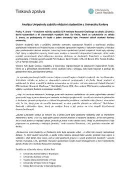 Analyza Unipetrolu zajistila vitezstvi studentum z Univerzity Karlovy