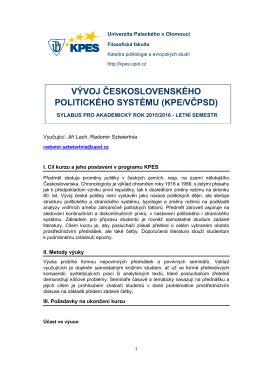 vývoj československého politického systému (kpe/včpsd)
