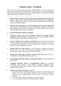 Finanční arbitr v 10 bodech - Finanční arbitr a Kancelář finančního