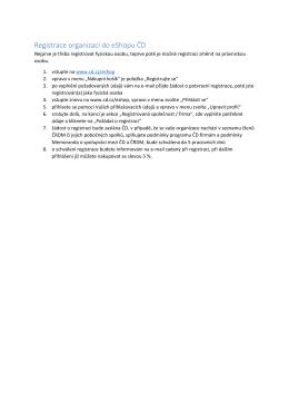 Registrace organizací do eShopu ČD