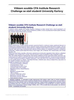 Vítězem soutěže CFA Institute Research Challenge se stali studenti