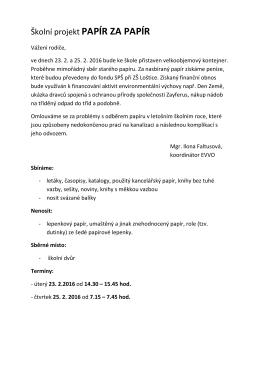 Školní projekt PAPÍR ZA PAPÍR - info (2)