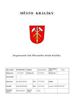 Organizační řád Městského úřadu Králíky