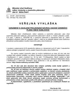 oznámení o zahájení projednání návrhu zadání