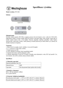 Specifikace výrobku