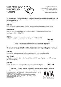 Valentynske menu