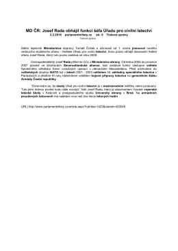 MD ČR: Josef Rada obhájil funkci šéfa Úřadu pro civilní letectví