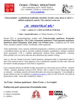 Ahoj Ivo, - Česko-čínská společnost