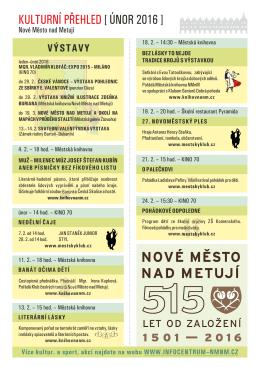 kulturní přehled [ únor 2016 ] - Infocentrum Nové Město nad Metují