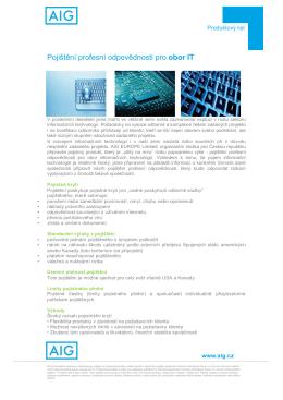 Pojištění profesní odpovědnosti pro obor IT