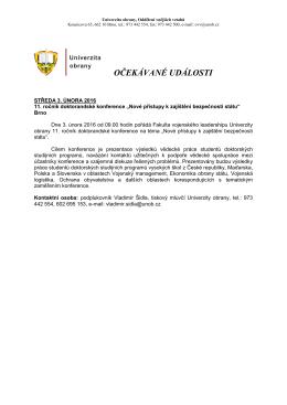 1. - 7. 2. 2016 - Univerzita obrany