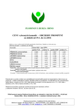 cenové informace - Plodinová burza Brno