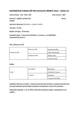 informčaní formulář pro katalog hřebců 2016