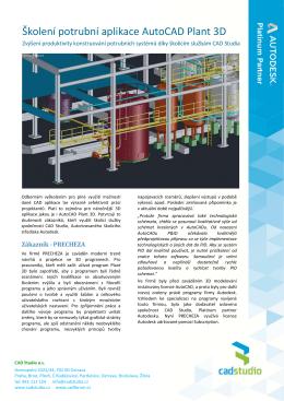 Školení potrubní aplikace AutoCAD Plant 3D