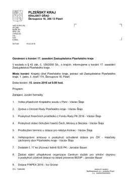 Oznámení o konání 17. zasedání Zastupitelstva Plzeňského kraje