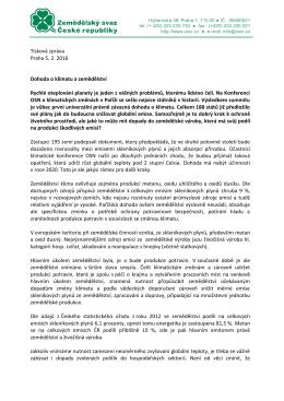 Tisková zpráva Praha 5. 2. 2016 Dohoda o klimatu a zemědělství