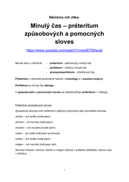 préteria způsobových a pomocných sloves v PDF