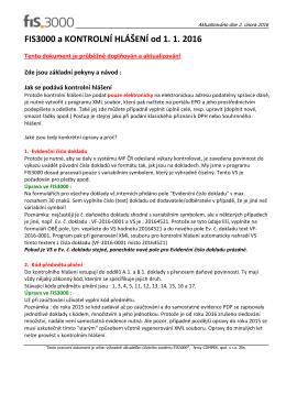 Kontrolní hlášení v programu FIS3000