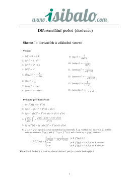 Diferenciální počet (derivace)