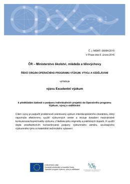 Text výzvy Excelentní výzkum - Ministerstvo školství, mládeže a