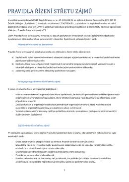 Střet zájmu - S&P Czech Finance sro