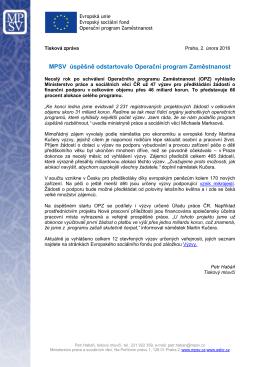 TZ - MPSV úspěšně odstartovalo Operační program Zaměstnanost