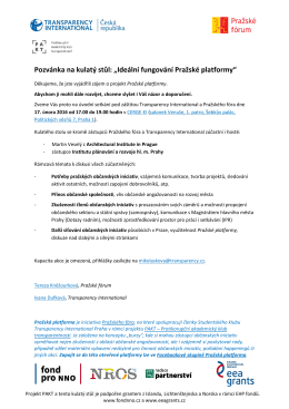"""Pozvánka na kulatý stůl: """"Ideální fungování Pražské platformy"""""""