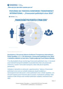 Pozvánka na tiskovou konferenci - Transparency International ČR